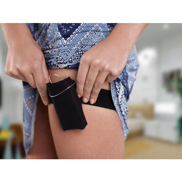 Ober- Unterschenkelgurt mit Tasche beige